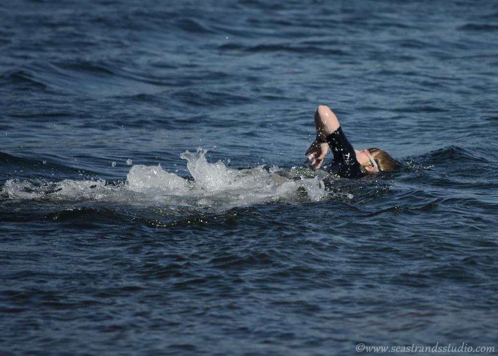 Katherine's first open-water swim, 2012