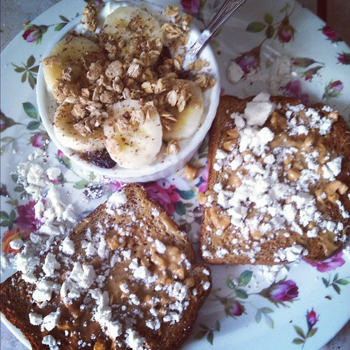 breakfast: bananas with yogurt, protein powder on toast with peanut butter