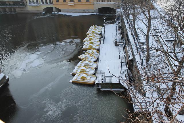 Frozen paddleboats