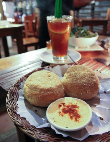 Biscuits with Herb Cheese at Cafe by the Ruins