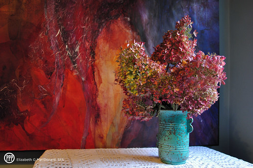 Mom's RumRill Vase, Table runner, Hydrangeas and My Abstract Watercolour by photographerpainterprintmaker