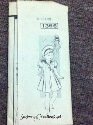 1366 Postal Pattern - girl's gored dress with yoke circa 1940s