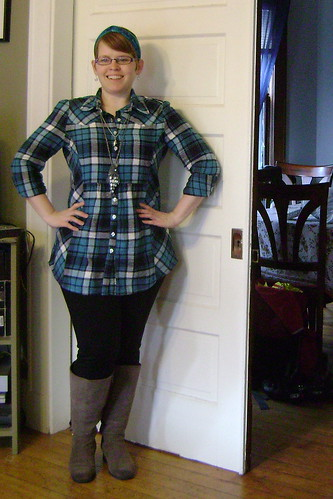 plaid tunic and leggings