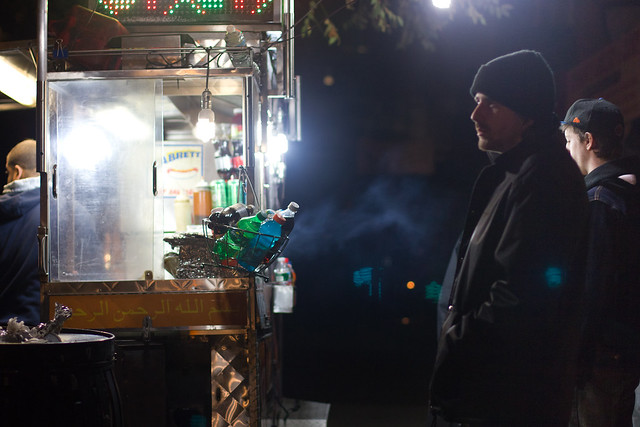 With no electricity in Lower Manhattan, street vendors with generators was a lifesaver to some.