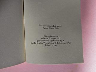 Roddy Doyle. Non solo a Natale, Guanda 2012. Disegno e grafica di copertina: Guido Scarabottolo. Pagina dello stampatore (part.), 1