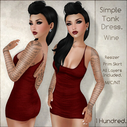 1 Hundred. Simple Tank Dress. Wine