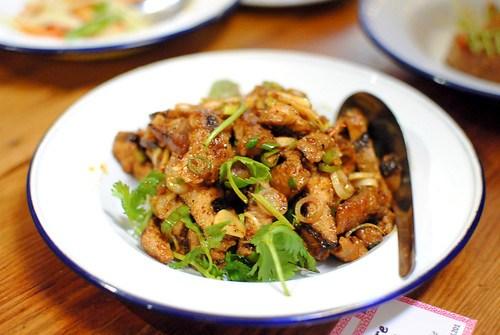 moo sadoong | 'startled pig' grilled pork, basil, lemongrass, fish sauce, lime, bird eye chile, raw garlic
