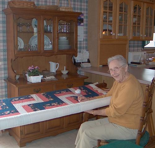 Nelda Quilting at 92  2006