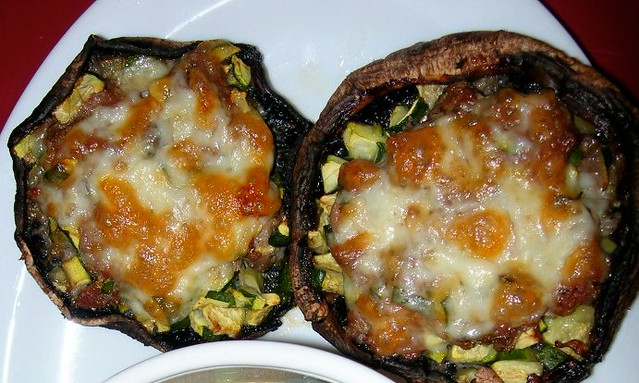 Portobellos stuffed with Zucchini and Lamb Sausage
