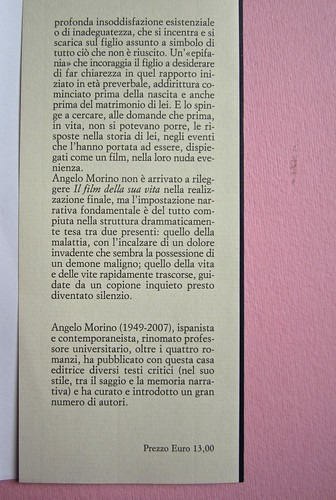 Angelo Morino, Il film della sua vita, Sellerio 2012. [resp. grafica non indicata]. Risvolto della quarta di copertina (part.), 1