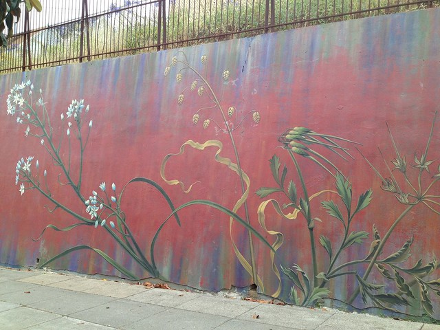 Colorful botanically-themed mural