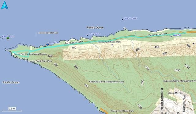 Kaena Point Topo Map