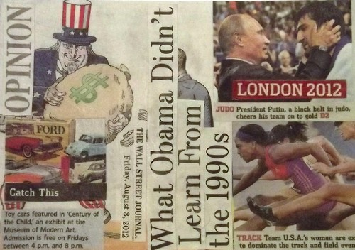 [09] Mail Art: Newspaper Collage Postcard - The Wall Street Journal 03Aug2012 #4