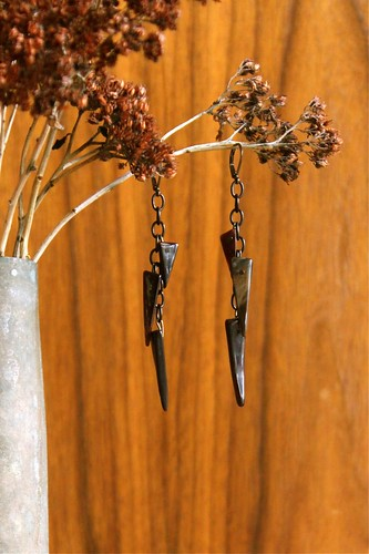 horn & copper & blackened steel earrings by denise carbonell