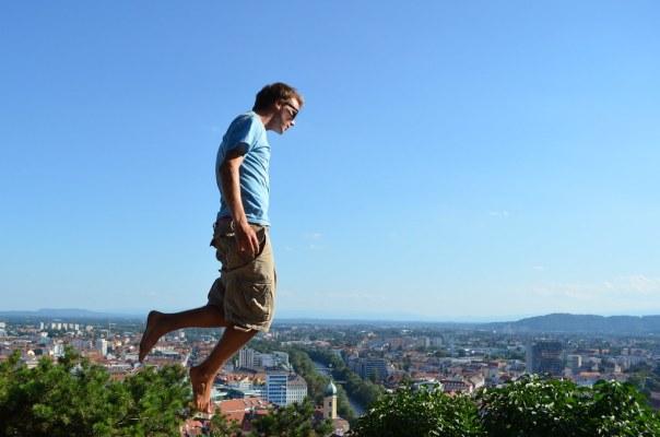 Floating over Graz, Austria