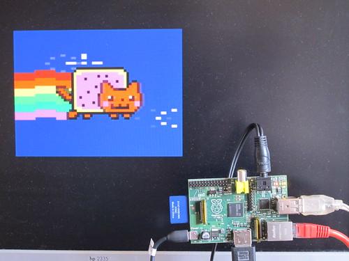 XRoar Dragon emulator Nyan Cat running of Raspberry Pi