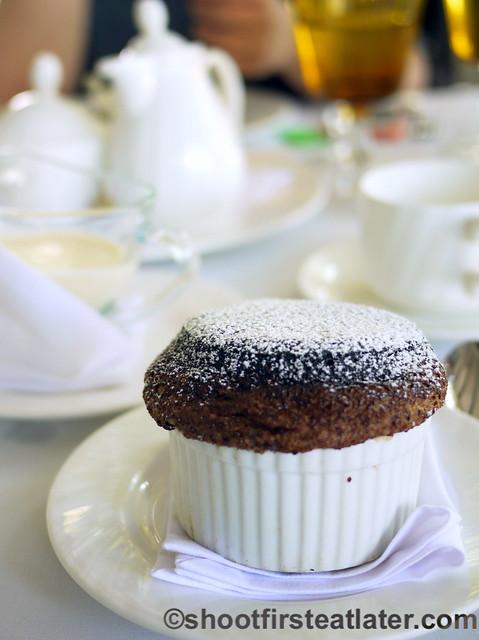 dark chocolate souffle with cardamom creme anglaise