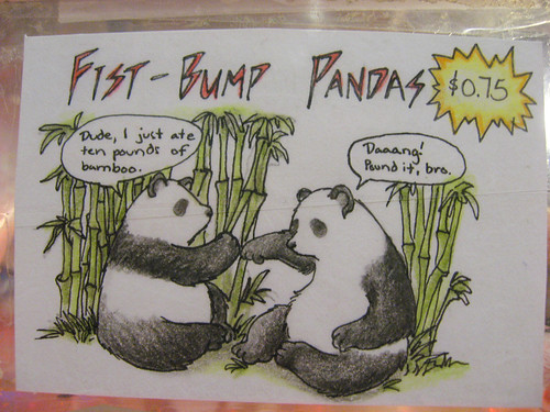 Fist-bump pandas