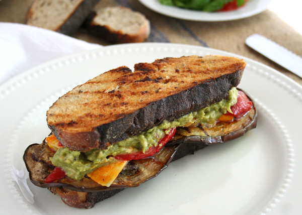 Grilled Mediterranean Sandwich with Mashed Avocado