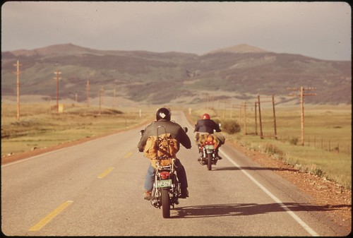 Vacationers on motorcycles, 05/1972.