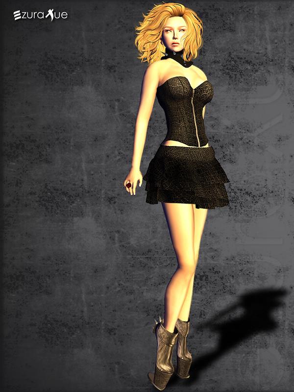 ezura + Croc leather corset & ruffle skirt