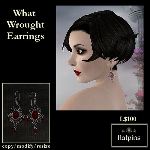 Hatpins - What Wrought Earrings - Ruby
