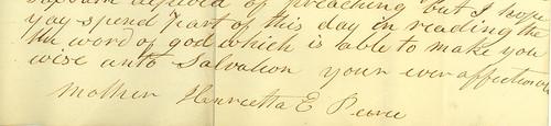 Henrietta (Elliot) Peirce's signature, 1840