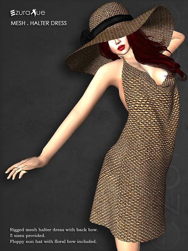 ezura + Halter dress with floppy hat