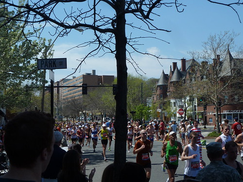 And then it started to get a bit packed on the course at the Boston Marathon 2012
