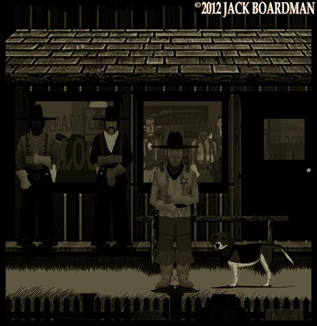 Boomer & Daisy outside the saloon ©2012 Jack Boardman