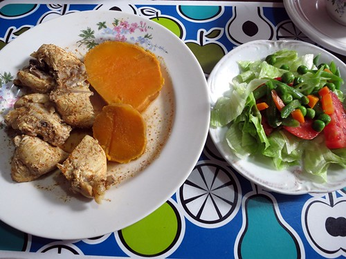 Chicken adobo, boiled sweet potato, salad