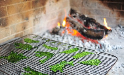 Brassicas drying out in the hearth.