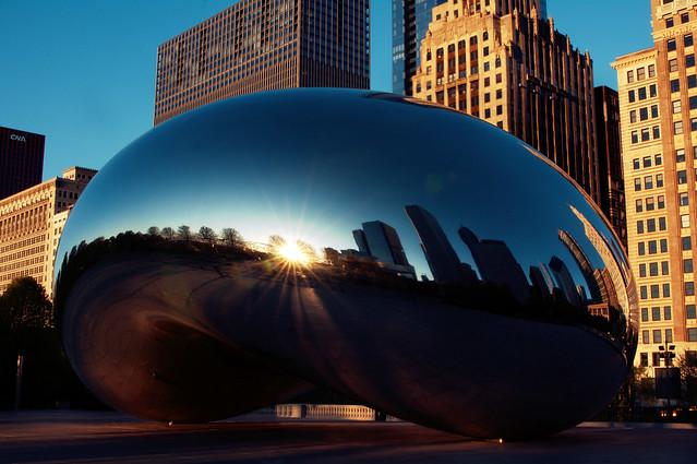 sun rises in the bean
