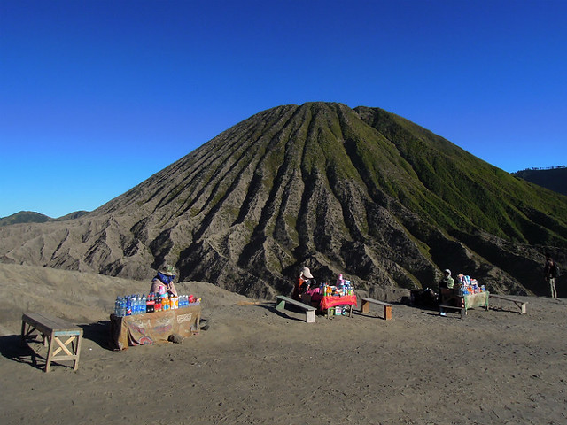 Local vendors selling snacks and drinks on Mt. Bromo
