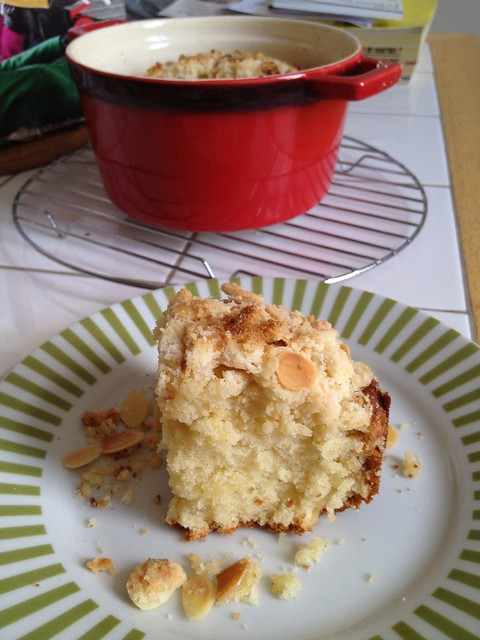 Almond crumble cake baked in a mini cocotte