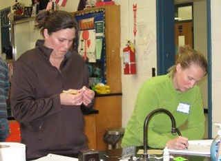 Two teachers work together in a science lab.