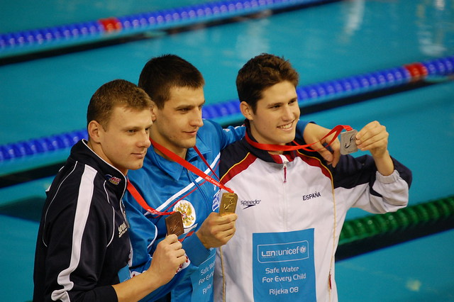 Men 50 back medalists at Rijeka 2008