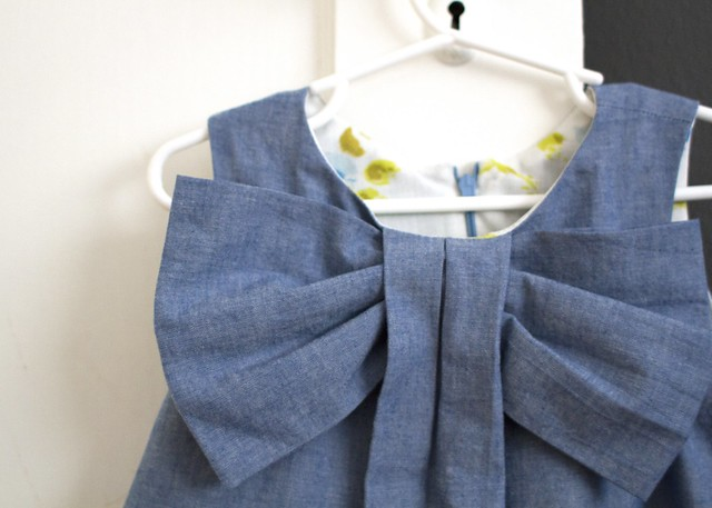 chambray big bow dress