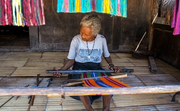 Weaver in Bena, Bajawa, Flores