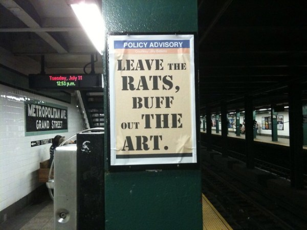 POLICY ADVISORY Leave the rats, buff out the art. (Queens bound G; Metropolitan Ave)