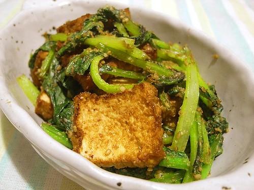 小松菜と厚揚げのゴマ炒め
