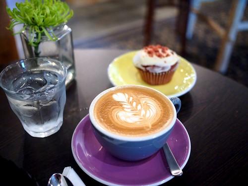 Flat white and red velvet cupcake, Strangers' Reunion, Kampong Bahru Road