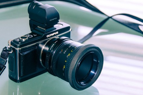 Olympus E-P2 with EVF, Fotodiox Nikon(G) mount for Micro 4/3rds, and Nikkor 50mm 1:1.8D mounted