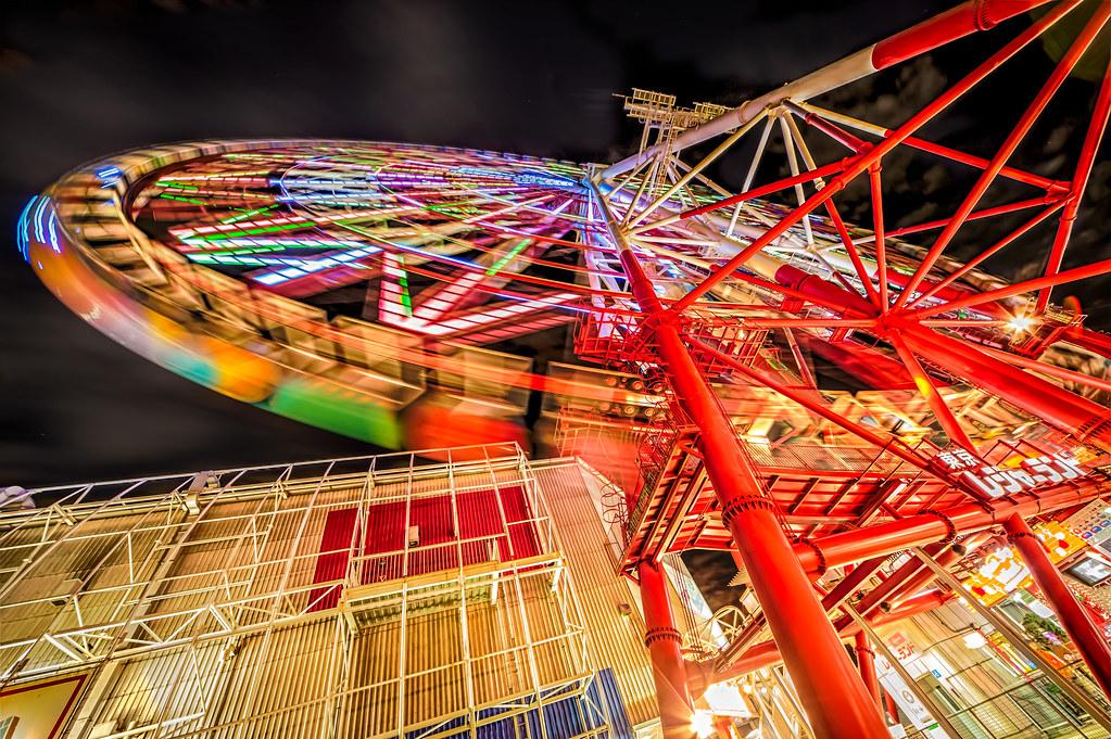 Daikanransha Ferris wheel from Below