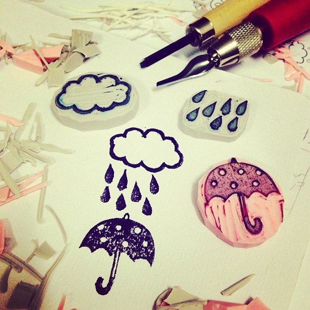 Rubber stamp: rainy day