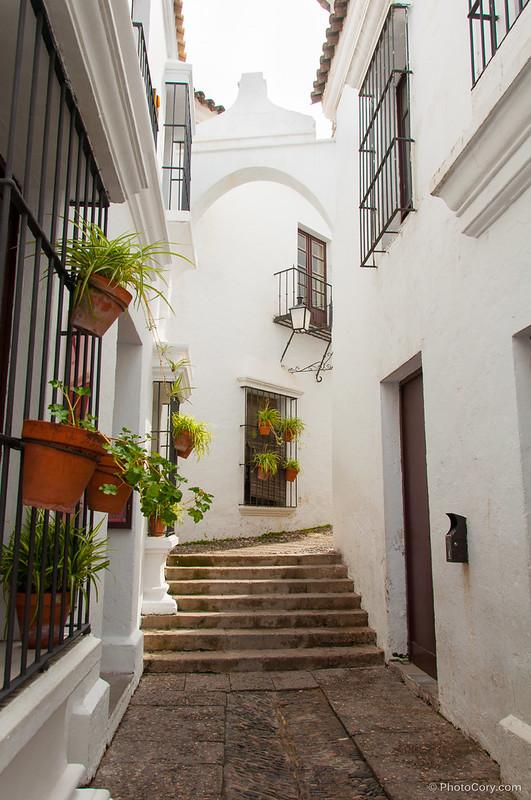narrow street in Poble Espanyol, Barcelona, Spain