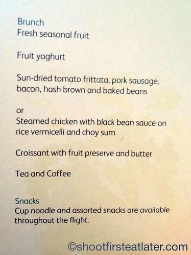 Cathay Pacific's economy class long haul menu -1