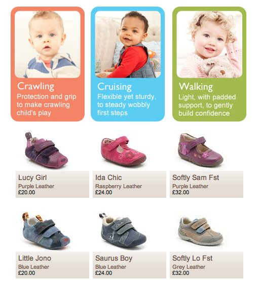 Screenshot of 'First shoes' landing page from clarks.co.uk, showing boys' and girls' shoes