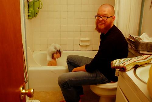 The bubble bath.