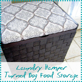 laundry hamper turned dog food storage